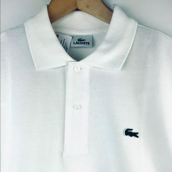 85bee188e Lacoste Polo Shirt Crocodile Pique White Cotton 5. NWT